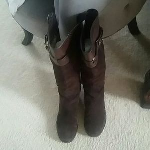 Tory Burch riding boots sze 8 1/2 leather & suede